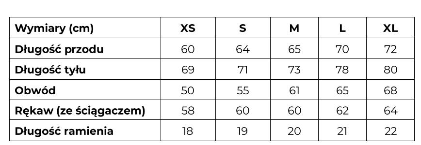 Tabela rozmiarów bluza Betterave